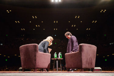 Stanford Law School Dean Mary Elizabeth Magill sits down with U.S. Supreme Court Justice Sonia Sotomayor for a conversation held at Memorial Auditorium.