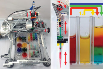 Building a liquid-handling robot: Start with a Lego Mindstorms system (left); add a motorized pipette for dropping fluids (center) and perform simple experiments like showing how liquids of different salt densities can be layered.