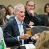 President Marc Tessier-Lavigne gives his remarks at the Faculty Senate on April 13, 2017