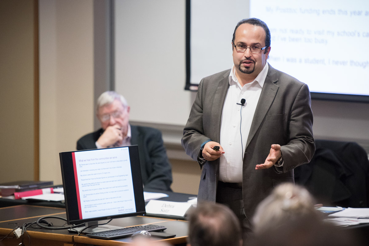 Farouk Dey, Associate Vice Provost and Dean of Career Education, speaks at Faculty Senate meeting on April 13, 2017.