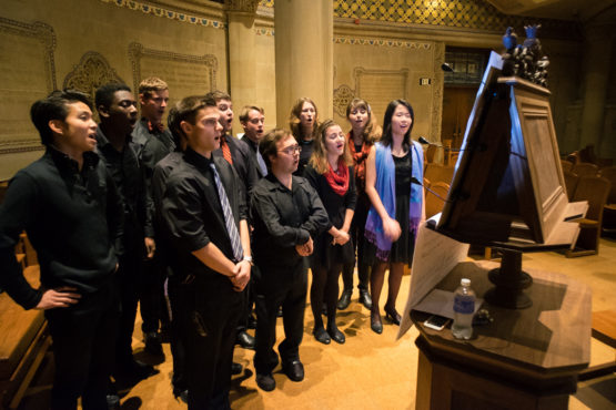 Jesse Rodin's students sing at Memorial Church