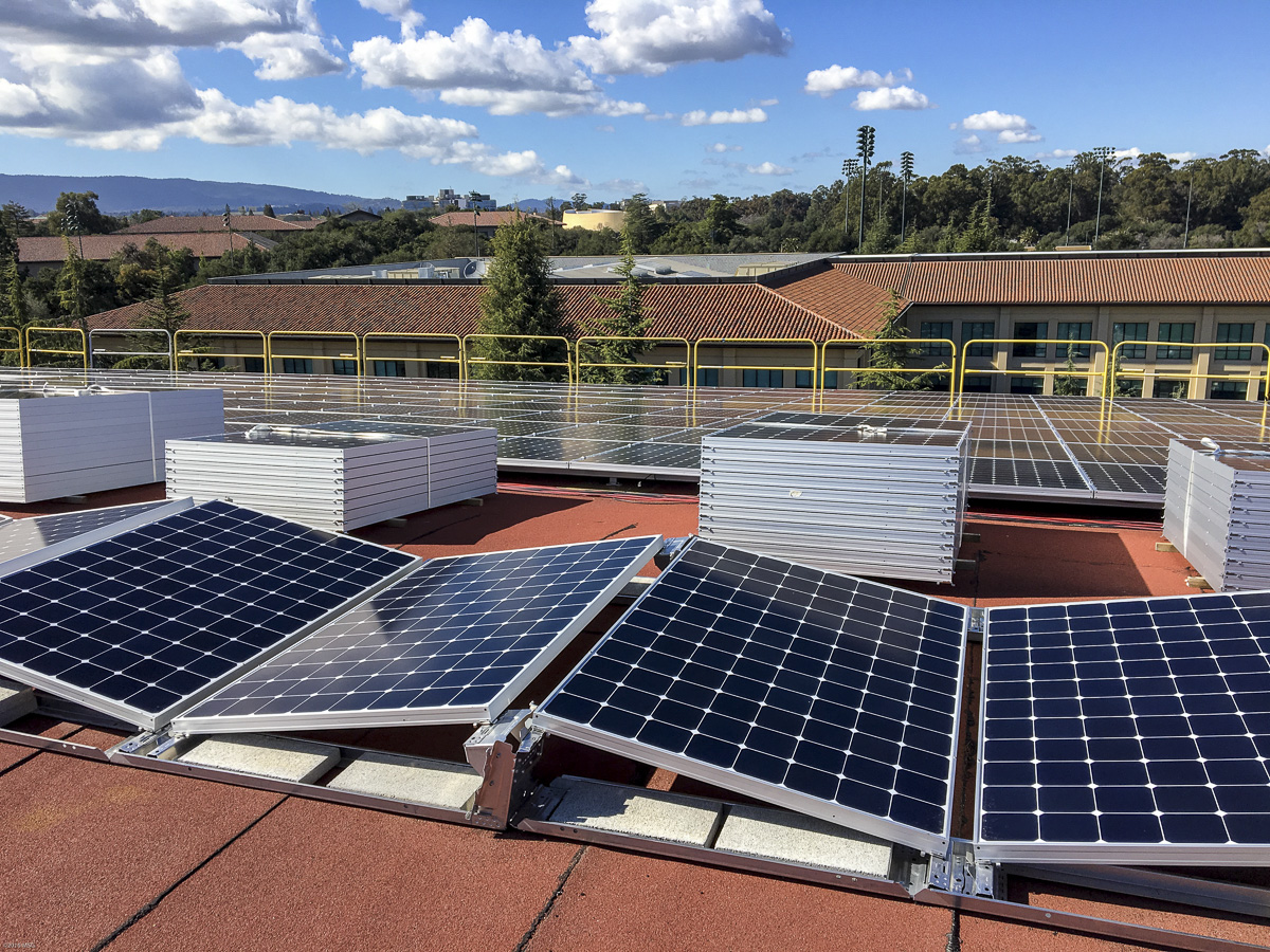 sun rooftop photovoltaic panels electricity for stanford stanford news. Black Bedroom Furniture Sets. Home Design Ideas
