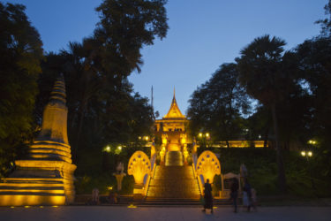 wide angle view of Buddhist temple at twilight