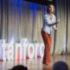 """Professor Anna Lembke makes a point during her talk, """"Drug Dealer, MD."""""""