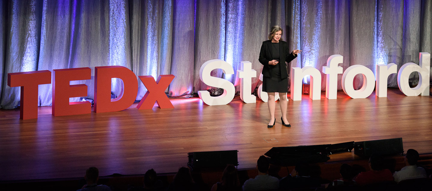 Jennifer Granick on stage at Cemex Auditorium