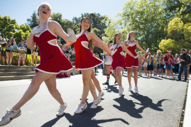 The Stanford Band and the Dollies entertain the Admit Weekend crowd.
