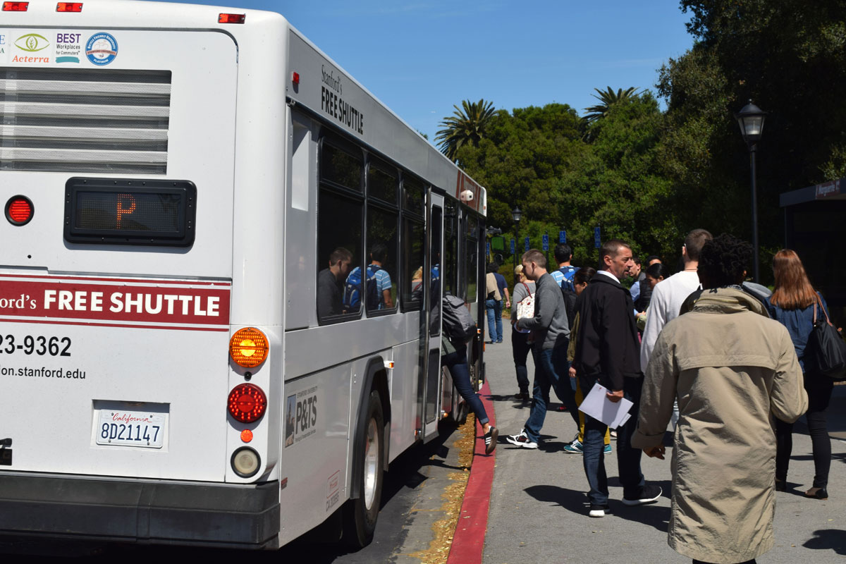 Commuters boarding the Marguerite shuttle