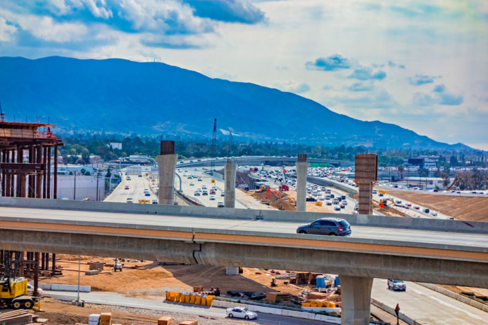 overpass construction near Riverside, California