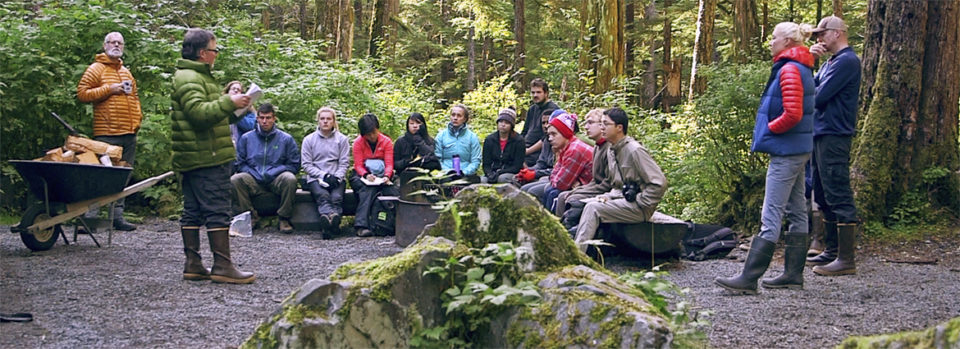 Stanford students in the forest in Southeast Alaska