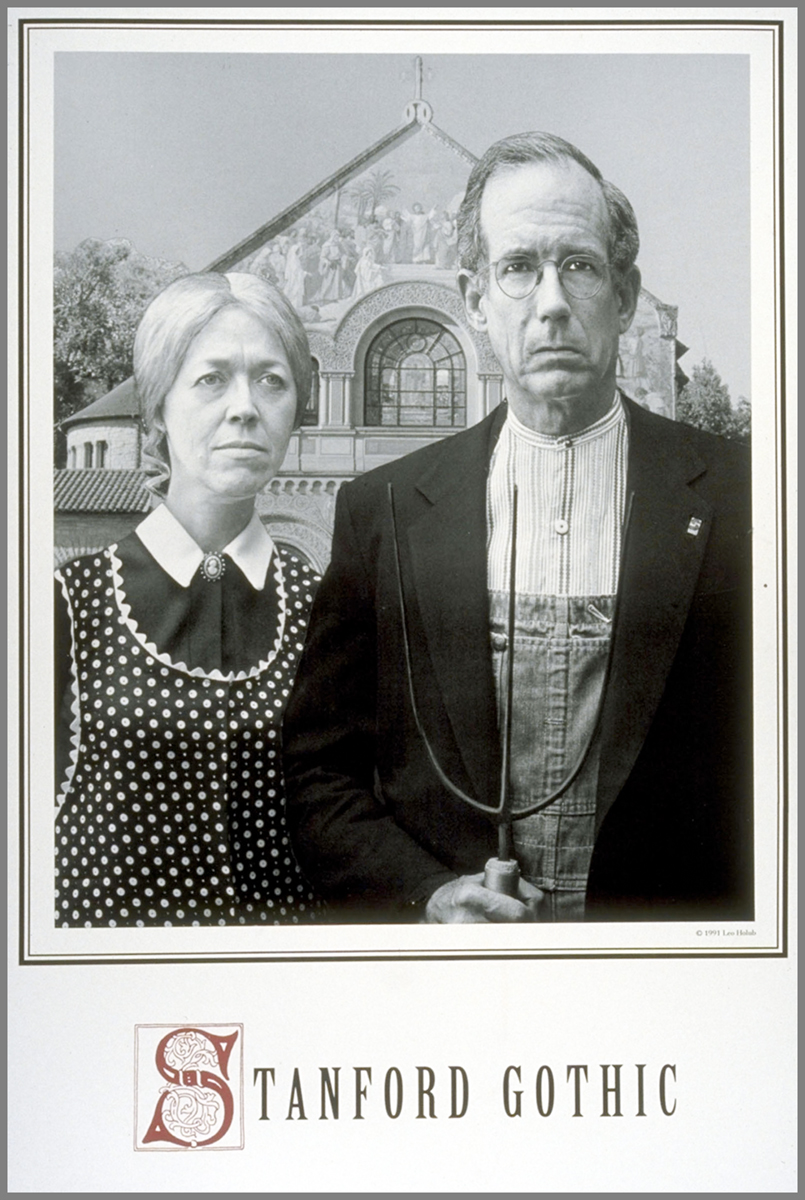 Parody of American Gothic with art professor Wanda Corn and then Stanford president Donald Kennedy