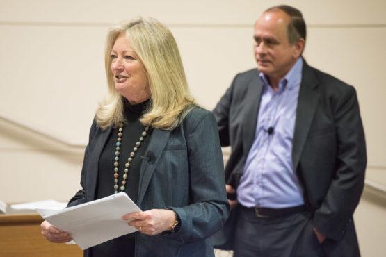 Karen Cook in foreground, Matthew Snipp in background