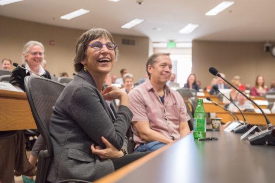 Debra Satz at the Faculty Senate meeting.