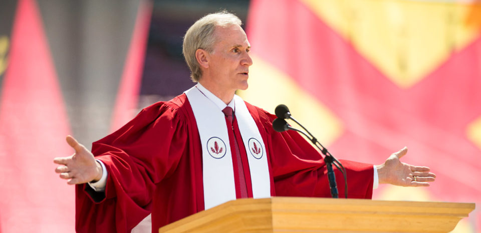 President Marc Tessier-Lavigne welcomes the parents, families and graduates to the commencement ceremony.