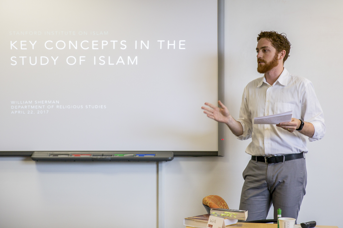 Will Sherman delivers the opening lecture of the Stanford Institute on Islam.