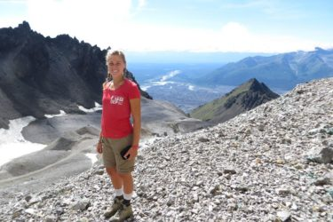 Annalisa overlooking the glacial cirque at the Jumbo Mine.