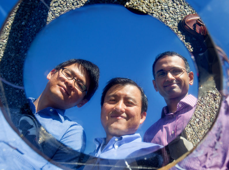 Stanford researchers in 2014 reflected in mirror-like optical surface they developed