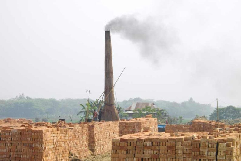 Bricks dry outside a kiln in Bangladesh.