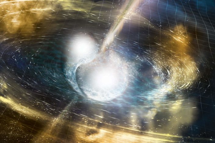 Cataclysmic Collision. Artist's illustration of two merging neutron stars. The rippling space-time grid represents gravitational waves that travel out from the collision, while the narrow beams show the bursts of gamma rays that are shot out just seconds after the gravitational waves. Swirling clouds of material ejected from the merging stars are also depicted. The clouds glow with visible and other wavelengths of light.