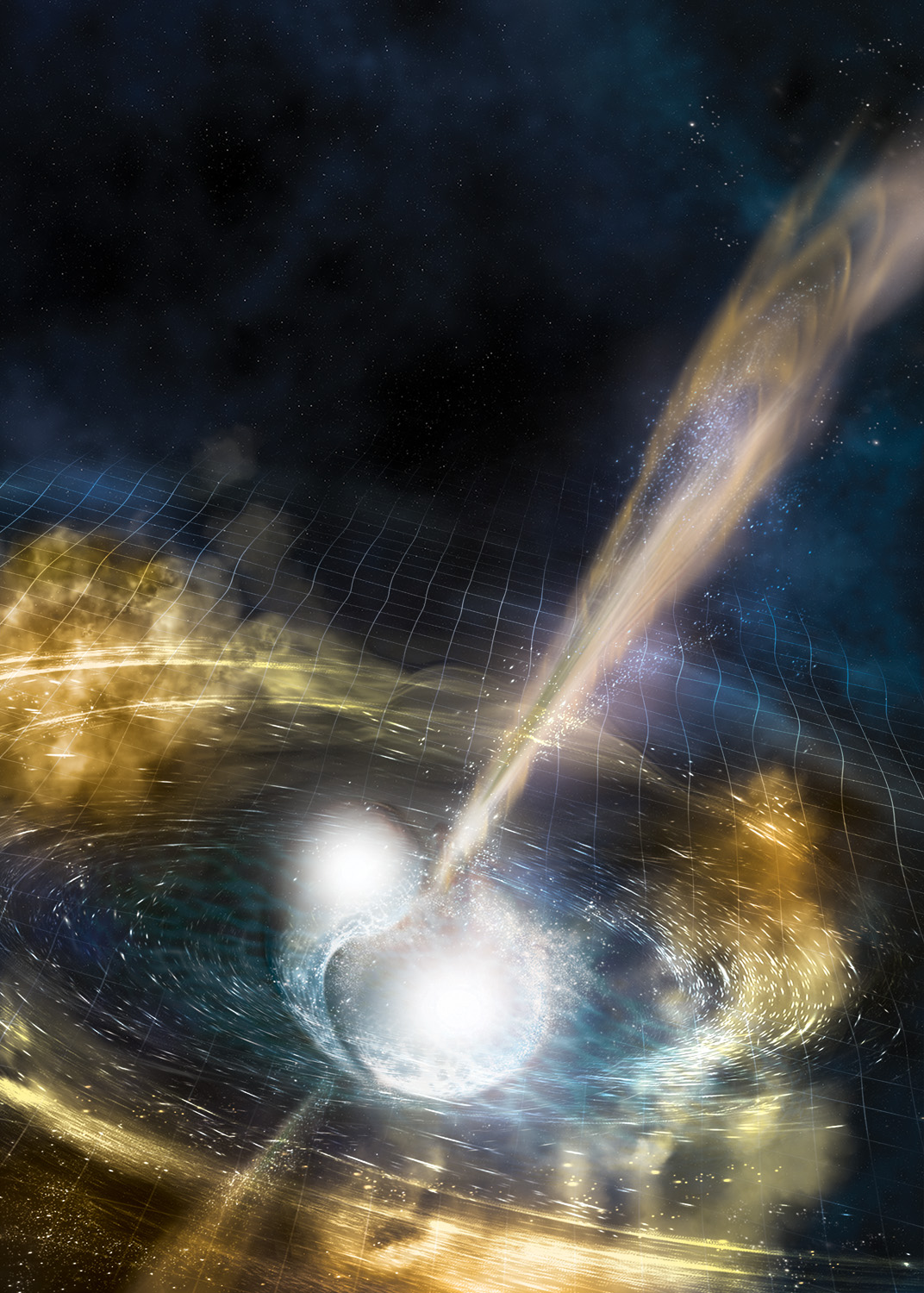 Artist's rendering of two merging neutron stars. The rippling space-time grid represents gravitational waves that travel out from the collision, while the narrow beams show the bursts of gamma rays that are shot out just seconds after the gravitational waves. Swirling clouds of material ejected from the merging stars glow with visible and other wavelengths of light. (Image credit: NSF/LIGO/Sonoma State University/A. Simonnet)