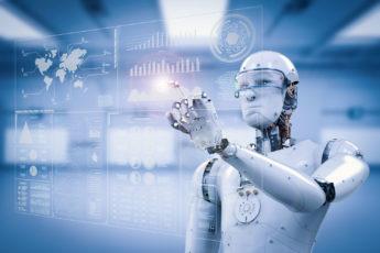humanoid robot at a touchscreen