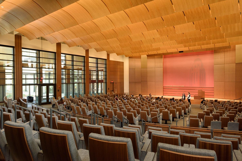 interior view auditorium in the Hoover Institution's Traitel Building