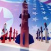 North Korean and American flags and missiles.