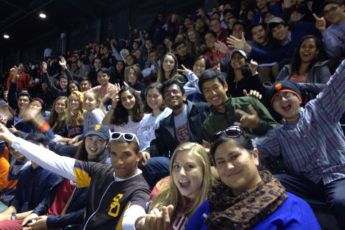 Students at Giants game.