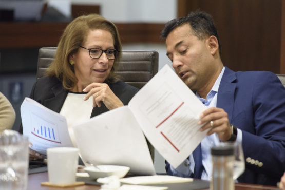 "Trustees Gail B. Harris and Dipanjan ""DJ"" Deb discuss admissions matters at the fall meeting of the Board of Trustees."