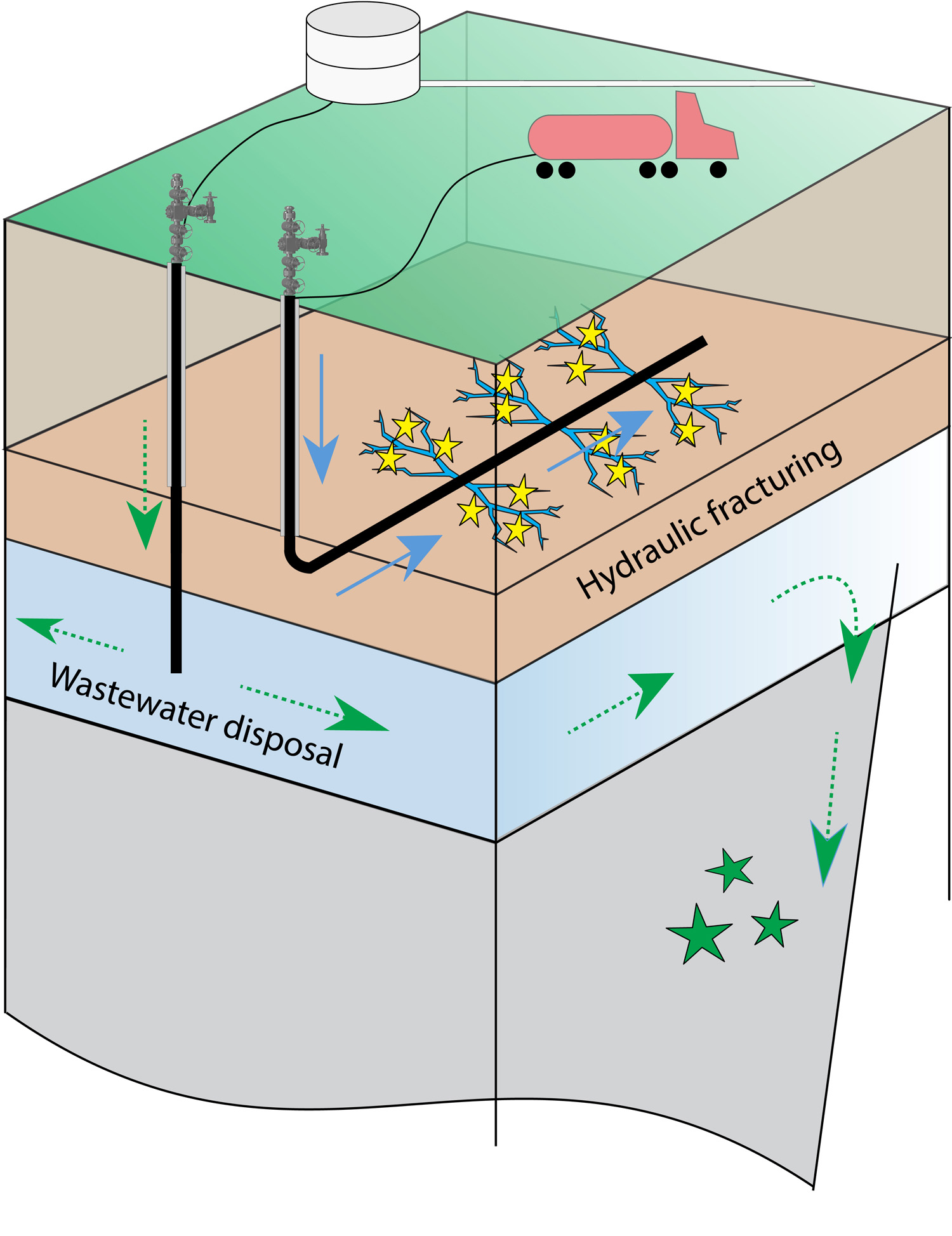 Small earthquakes (yellow stars) can be induced during hydraulic fracturing when high-pressure fluid (blue arrows) is pumped into horizontal wells to crack rock layers containing natural gas. Earthquakes (green stars) can also be induced by disposal of wastewater from gas and oil operations into deep vertical wells. Over time, the disposal layer migrates away from the well (dashed green arrows), destabilizing preexisting faults.