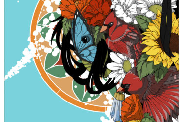 Poster art with flowers, butterflies and birds
