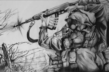 Graphite drawing of video game