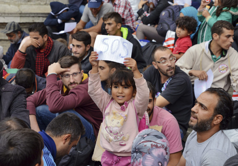 refugees at railway station in Hungary