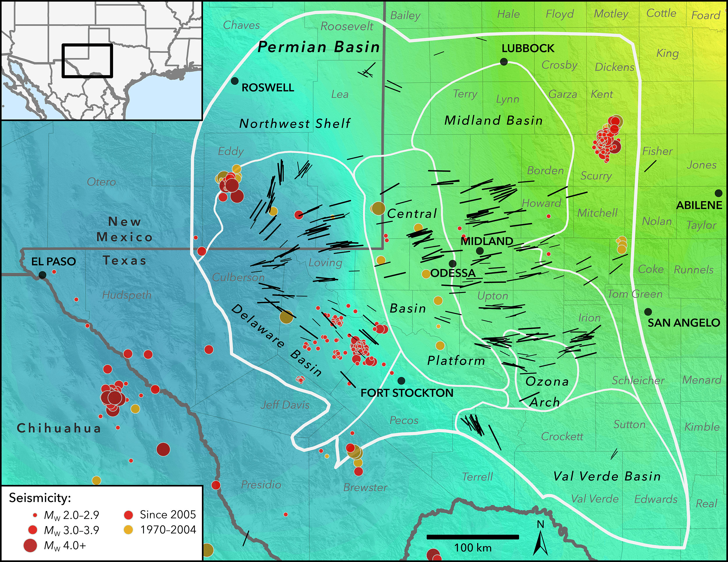 New map of the Earth's stress field in the Permian Basin, west Texas and southeast New Mexico. Black lines represent measured directions of maximum horizontal stress. The colored background represents whether the Earth's crust is extensional or compressional. Blue areas to the west indicate that normal (extensional) faults are potentially active, yellow (mostly out of view to the northeast) represents strike-slip faulting (more compressional), and green means that both normal and strike-slip faults are potentially active. Earthquake locations are shown as colored dots. In recent years, several new clusters of earthquakes (red dots) have occurred in the southern Delaware Basin, near the town of Fort Stockton, and another cluster has occurred near Midland. In contrast, older events (orange dots) are concentrated on the Central Basin Platform.