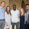 Senior class presidents, from left, Jack Seaton, Madilyn Ontiveros, actor and commencement speaker Sterling K. Brown, senior class presidents Rachel Morrow and Ibrahim Bharmal.