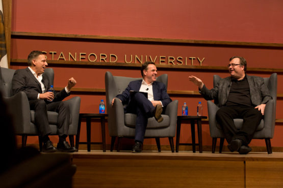 Peter Thiel, Niall Ferguson and Reed Hoffman on stage