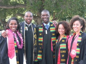 Valerie Bellande, second from the right, with fellow '09 graduates of the Program in African and African-American Studies