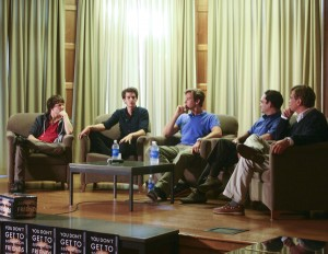 From left,  Eisenberg, Garfield, Hammer, Tobin and Sorkin  (Photo courtesy Michael Liu/The Stanford Daily)