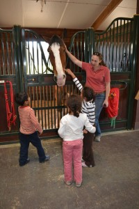 Barn manager Vanessa Bartsch introduces kids to Carter, one of the Clydesdales recently boarded at the Red Barn.