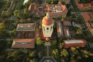 A bird's eye view of Hoover Tower, taken by a camera on a remotely controlled helicopter.