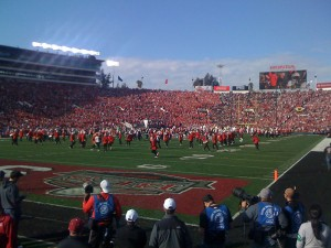 Band performing at the Rose Bowl