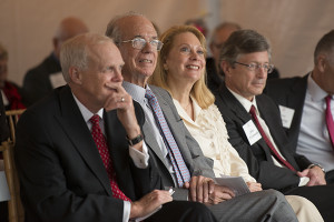 From left, President John Hennessy, President Emeritus Donald Kennedy and his wife, Robin, and current Provost John Etchemendy.