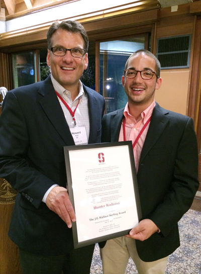 Howard Wolf, director of the Stanford Alumni Association with Hunter Kodama, '14, a 2014 Sterling Award winner.