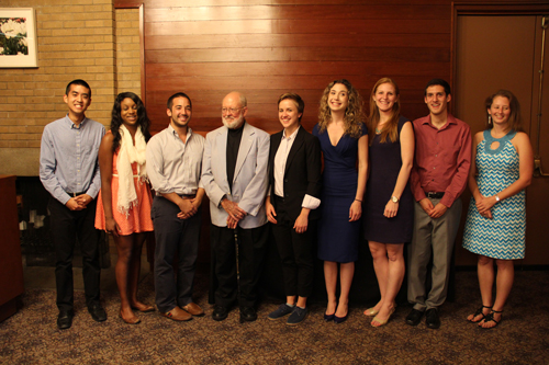 Lyons award winners, from left, Timothy Huang, Dominique Mikell, Hunter Kodama, Jim Lyons, Tessa Ormenyi, Annie Atura, Karen  Jared Naimark and Sandra Kjono and Sandra Powroznik