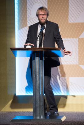 """J. Christian Jensen, winner of the silver medal in the documentary film category for """"White Earth,"""""""