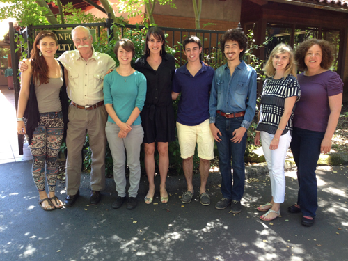 The organizer, winners and judges of the Taube Center for Jewish Studies inaugural short story contest gathered at the Faculty Club to celebrate. From left, senior Kim Leon, Professor Tobias Wolff, sophomore Beatrice Garrard, writer Sarah Houghteling, freshman Max Weiss, senior Alberto Hernandez, Marie-Pierra Ulloa, associate director for academic programming and student outreach at the Taube Center for Jewish Studies, and writer Maya Arad.
