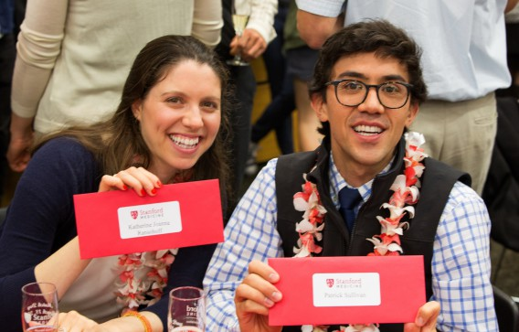 Katie Ransohoff , and Patrick Sullivan, celebrate at Match Day 2016, on  Friday, March 18, 2016, at Berg Hall at Stanford School of Medicine at Stanford University. ( Norbert von der Groeben / Stanford School of Medicine )