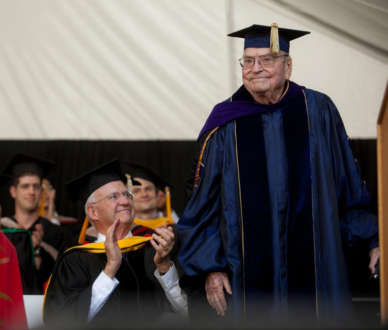 Arjay Miller at the Graduation Ceremony for the Graduate School of Business last June. (Credit: Saul Bromberger)