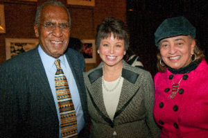 Stanford alumna Valerie Jarrett with James L. Gibbs and Jewelle Taylor Gibbs