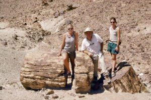 In 1997, Stephan Graham, center, along with graduate students Laura Webb, left and Cari Johnson, traveled to present-day Mongolia to explore an ancient petrified forest. (Image credit: Graham Labs)