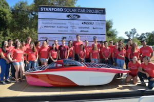 Members of the Stanford Solar Car Project unveil their new car, named Sundae, which will race in the 2017 Bridgestone World Solar Challenge in Australia. (Image credit: Mark Shwartz)